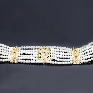 Image 4 - Luxuriant Women Bead Waist Chain Body Belly Chains Adjustable Length Jewelry India Bridal Nigeria Wedding Flower Pearl Belt 2018