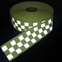 Fluorescent yellow & orange Warning Tape with Small Square for safety sew on clothing