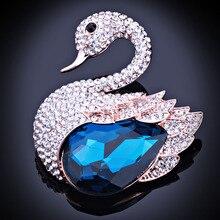 Fashion Jewelry Elegant Swan Brooch Pins with Clear Crystal Charm Rhinestones Brooch for Women Dress accessory