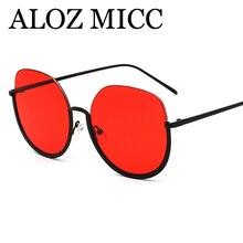 e97076e8dd8c68 ALOZ MICC 2018 Nouveau Demi Cadre Femmes lunettes de Soleil Hommes En Métal Grand  Cadre Rond Lunettes de Soleil Dames Tendances .
