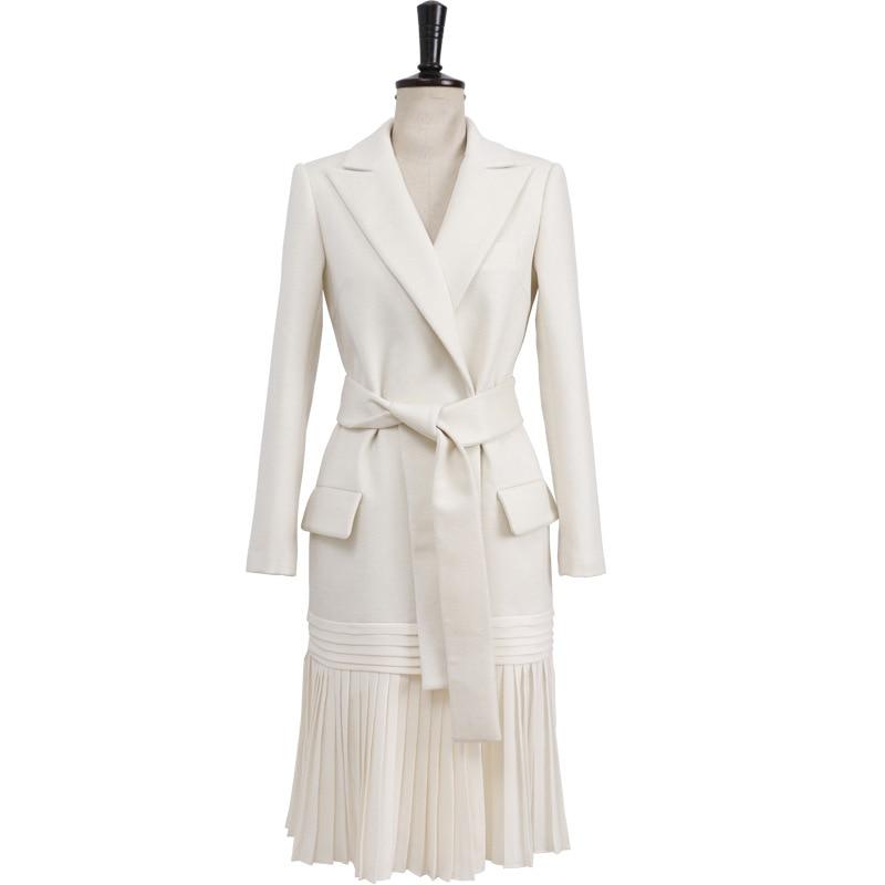 European American Temperament High Waist Strap Suit Female Spring Hem Pleated Lapel Long Sleeve White Slimming Suit Women 2019