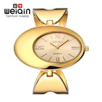 WEIQIN Unique Oval Dial Gold Watches New Arrival High Quality Shinning Upstart Steel Women Ladies Wrist