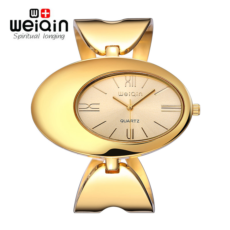 WEIQIN Women Brand Watch Waterproof Rome Style Oval Gold-Tone Hollow Out Bangle Bracelet Watches Fashion Dress Ladies Wristwatch vince camuto women s vc 5186chgb swarovski crystal accented gold tone multi function bracelet watch