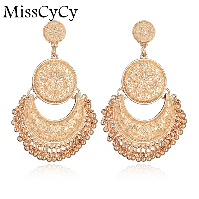 Misscycy Vintage Exotic Carved Flowers Exaggerated Tel Earrings Metal Stud For Women Online Ping India