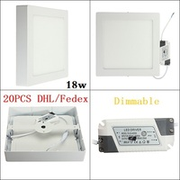 20pcs Dimmable Square Surface Mounted 18w LED Panel Light With Super Bright AC110V 240v Modern LED