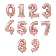 100pcs 16inch rose gold Foil Balloon air-filled Number 0-9 Balloons Birthday Party Wedding ballon Supplies globos