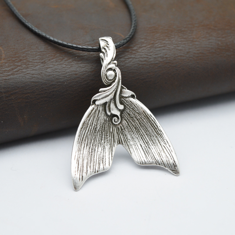 1pcs Vintage Silver Spoon Jewelry Pendant Mermaid Tail