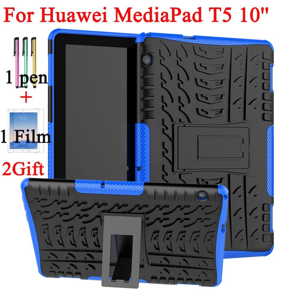 Case For Huawei Mediapad T5 10 AGS2-W09/L09/L03/W19 10.1Inch Heavy Duty 2 In1 Hybrid Rugged Silicone+PC Kickstand Case+Pen+Film