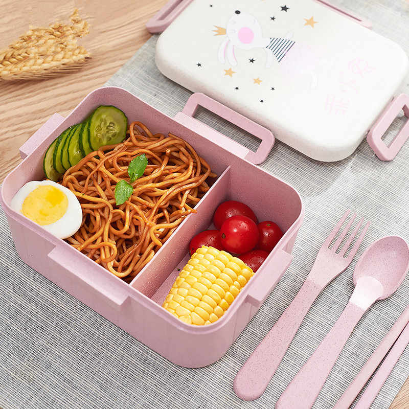 2 Cell Student Lunch Box for Kid Health Wheat Straw Eco-Friendly Food Storage Bento Boxes with Spoon Fork Chopsticks