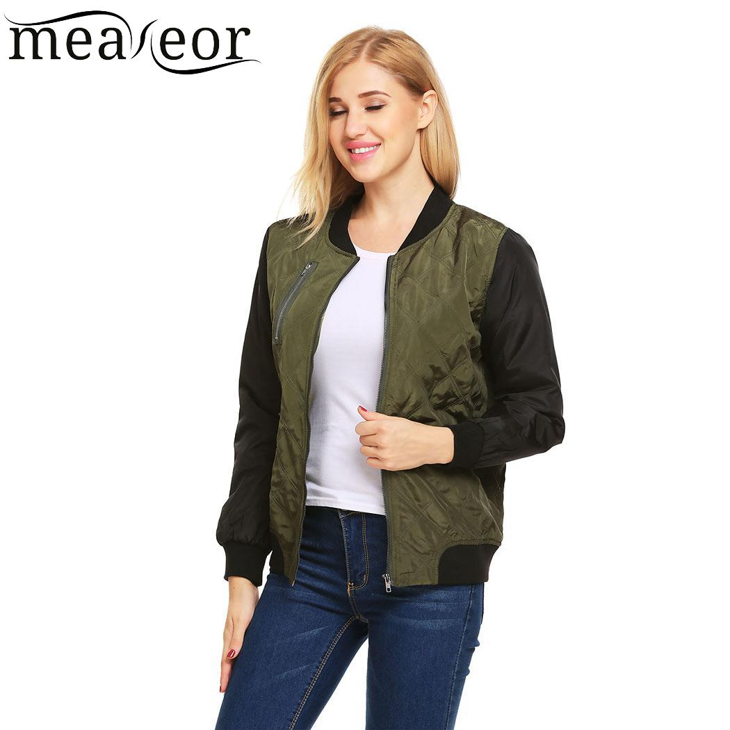 meaneor Loose Stand Collar Long Sleeve Basic Jacket Plaid Women Zipper Outwear