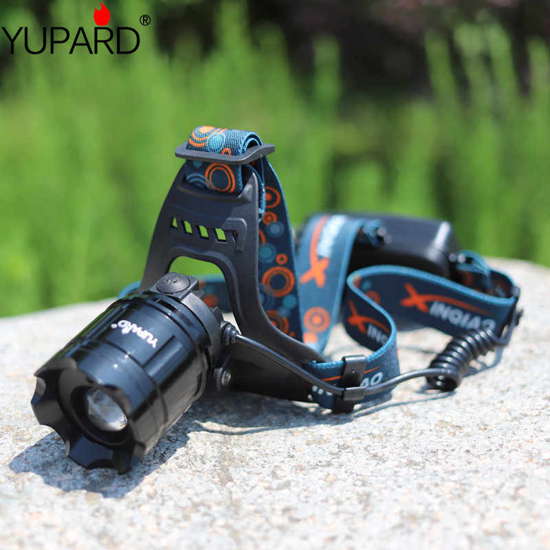 YUPARD zoomable Q5 5 W HA CONDOTTO LA Luce Della Testa DEL FARO della TORCIA ELETTRICA di campeggio di caccia Paliotti Lanterna ricaricabile 18650 batteria laser rosso