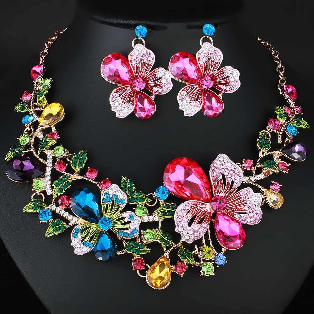 Fashion Wedding Jewelry Color Crystal Rhinestones Necklace Earrings set for Women Dubai Bridal Jewelry sets