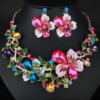Mode Hochzeit Schmuck Farbe Kristall Strass Halskette Ohrringe set für Frauen Dubai Braut Schmuck sets