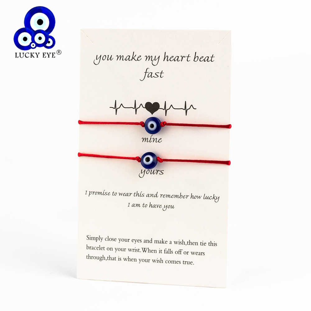 Lucky Eye Blue Evil Eye Charms Bracelet Red String Thread Rope Couple Bracelet Wish Card Jewelry For Women Men Adjustable CN219
