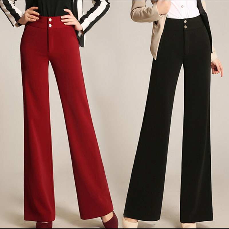 Unique Design Office Lady   Wide     Leg     Pants   2018 Spring and Summer Female High Waist   Pants   Plus Size Casual Straight Trousers