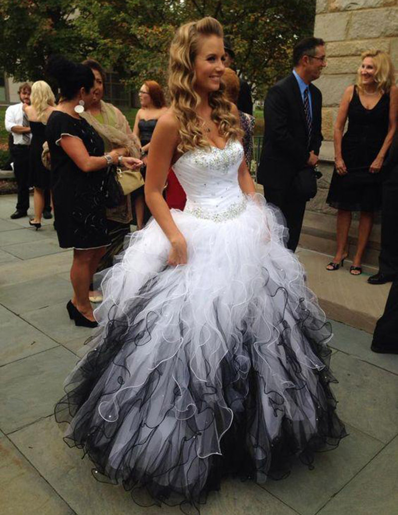 Popular Sweetheart Ball Gown Black and White Wedding Dress-Buy ...