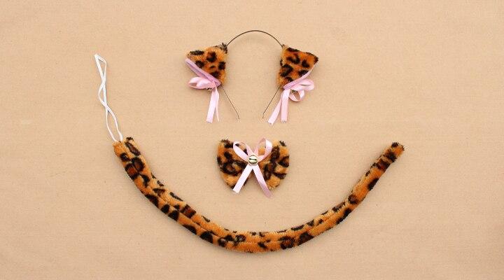 Повязка на голову с ушками neko в виде животных, белого, черного цвета, кота, тигра, аниме, хвоста 60 см, плюшевые перчатки, рождественские, пасхальные, вечерние, для взрослых и детей