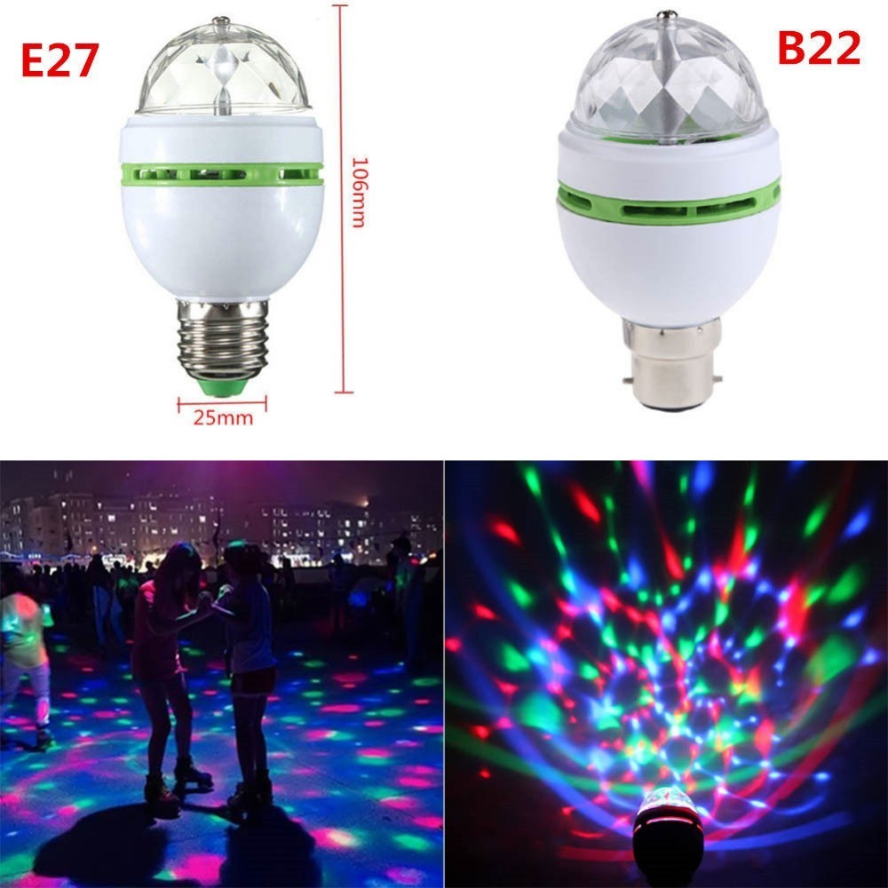 1PC  E27/B22 3W RGB LED Stage Lights Crystal Ball Rotating LED Stage Light Bulbs Disco Party Bulb Lamp