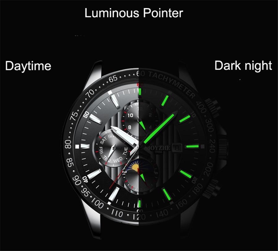 Fase de la luna Bisel de plata Dial de acero inoxidable para hombre - Relojes para hombres - foto 3