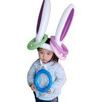 1Set Aufblasbare Spielzeug Ostern Bunny Aufblasbare Kaninchen Ohren Hut Aufblasbare Ring Für Ostern Bunny Party Spiel Kinder Outdoor Ferrule spielzeug
