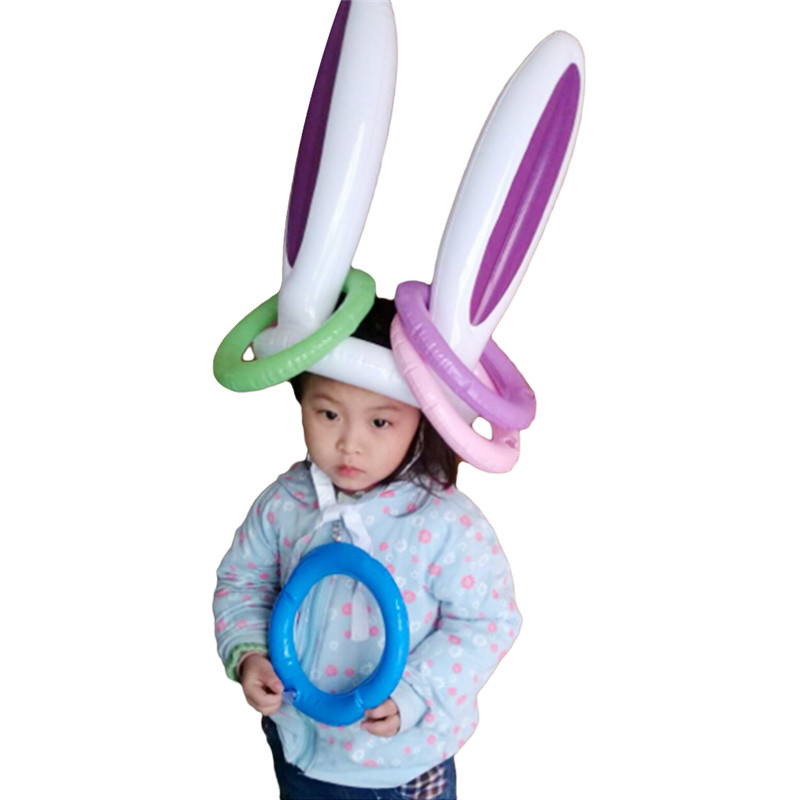 1Set Inflatable Toy Easter Bunny Inflatable Rabbit Ears Hat Inflatable Ring For Easter Bunny Party Game Kids Outdoor Ferrule Toy