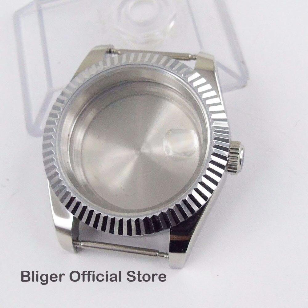 Boîte en acier inoxydable polie de loupe de Date de boîtier de montre de 40mm convenable pour la montre automatique de mouvement