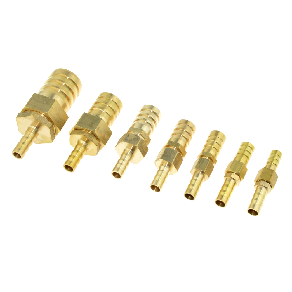 Brass Copper 8mm Hose Barb Pipe Fitting to 10mm 12mm 19mm OD Raccord Barb Reducer Air Tube Adapter Pipe Fittings Gas Coupler 8mm tube to 8mm tube plastic pipe coupler straight push in connector fittings quick fitting page 1