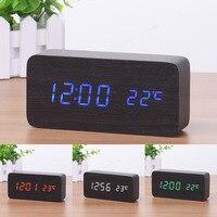 4 Colors New Arrival Wooden Digital LED Alarm Clock Sound Control Desktop Clock USB/AAA Powered Temperature Showed Drop Shippng