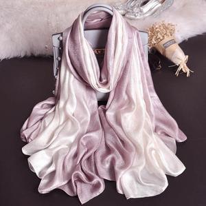 Image 1 - Fashion  Luxury gradient scarves  Soft linen silk plain shawls hijab spring big size spring muslim headband wrap scarves