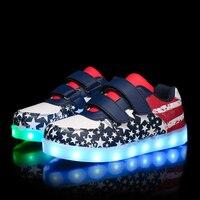 Azul profundo 2018 Novas Crianças Sapatos Com Luz Boys & Girls Casual LED Sapatos Para Crianças de Carregamento USB Luz LED up 7 Cores Sapatas Dos Miúdos