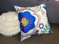 Modern Luxury Decorative Embroidered Applique 3D POM Flower Faux Bamboo Silk Piped Sofa Cushion Cover Throw