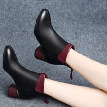 New Women Boots 2019 Autumn High Heels Women Ankle Shoes Size 35-40 Spring Boots Fashion Office Leather Boots(China)