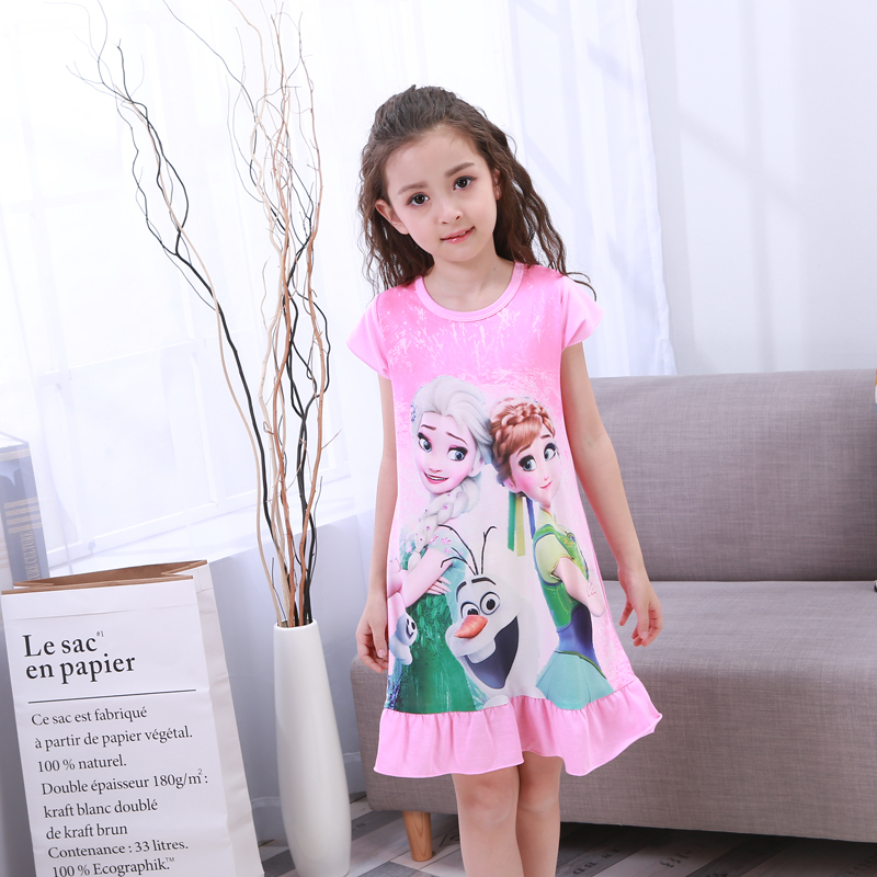 Girl Nightdress Baby Pajamas Cotton Princess Nightgown Kids Home Dress Summer Dresses Big Girl Sleepwear Kids Nightgown