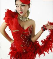 2017 di Nuovo Modo sexy Femminile cantante DJ costume della piuma del treno costumi jazz tuta per il cantante ballerino mostra prestazioni Di Natale