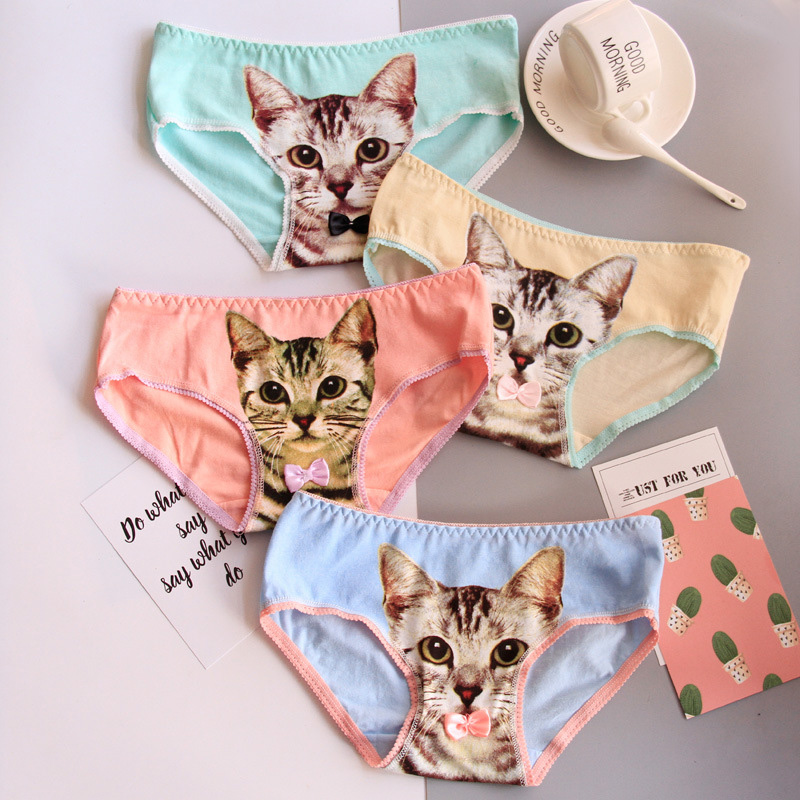 Women's Shorts Cotton Candy Color 3D Cartoon Cat Print Cute Sexy Briefs Comfortable Breathable women's underwear   panties