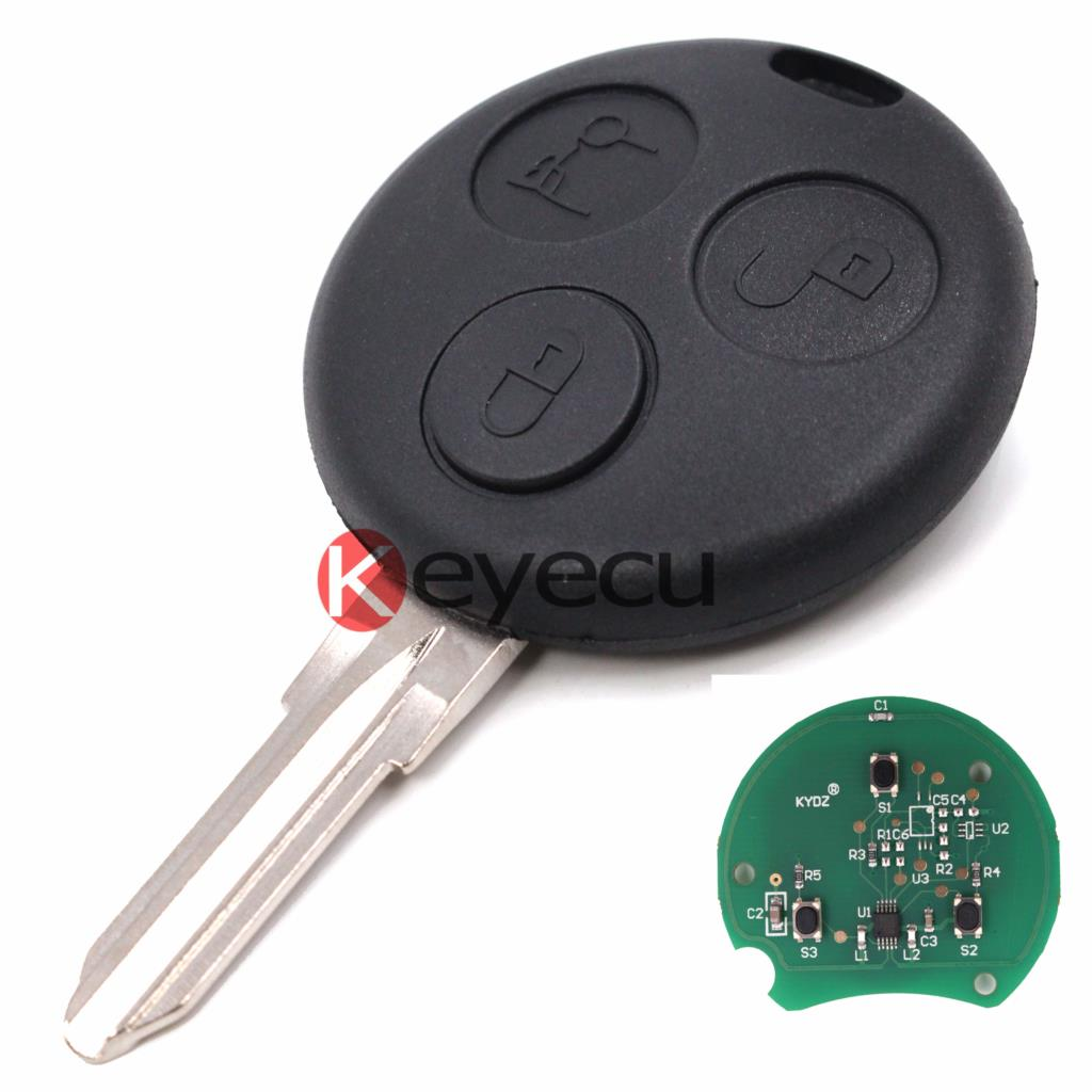 KEYECUHigh Quality Replacement Remote Key Fob 3 Button With Chip Uncut Blade For Smart Fortwo Forfour