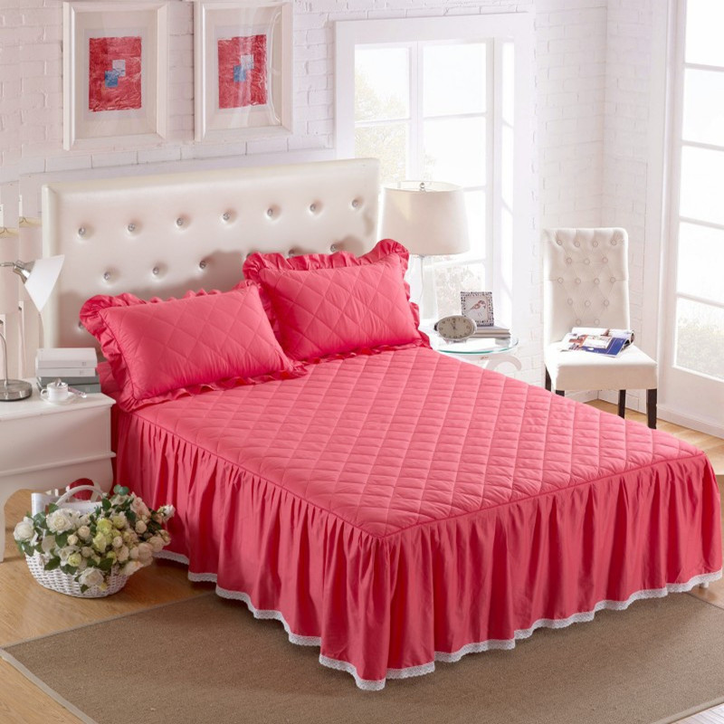 THICKEN winter quilted bed skirt 100% cotton Bed cover cotton pad - Home Textile - Photo 4