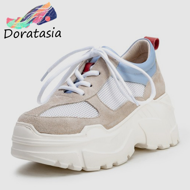 DORATASIA New Fresh Summer mixed-color Women Dad Shoes 2019 Genuine   Leather     Suede   Thick Platform Sneakers Lady Wide Shoes Woman