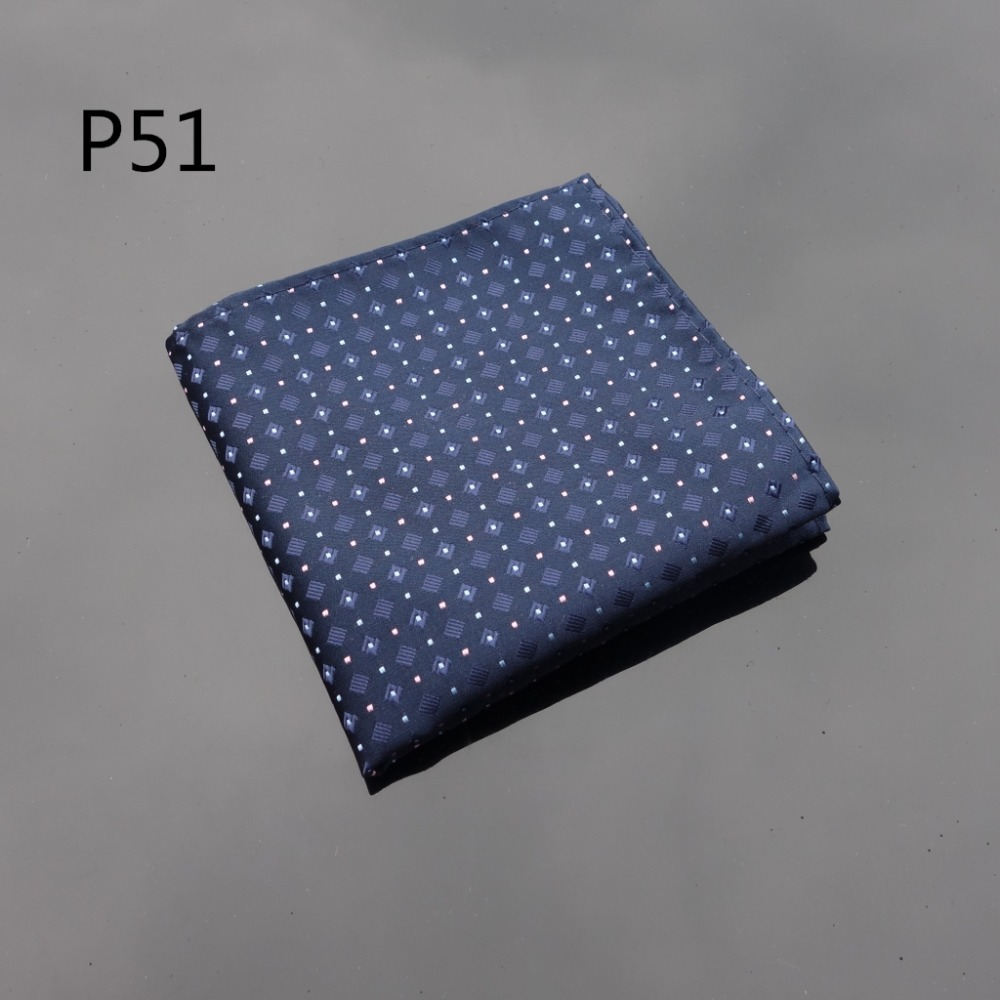 Ikepeibao Handkerchief Dots Navy Blue Hanky Men Tie Jacquard Woven Pocket Square