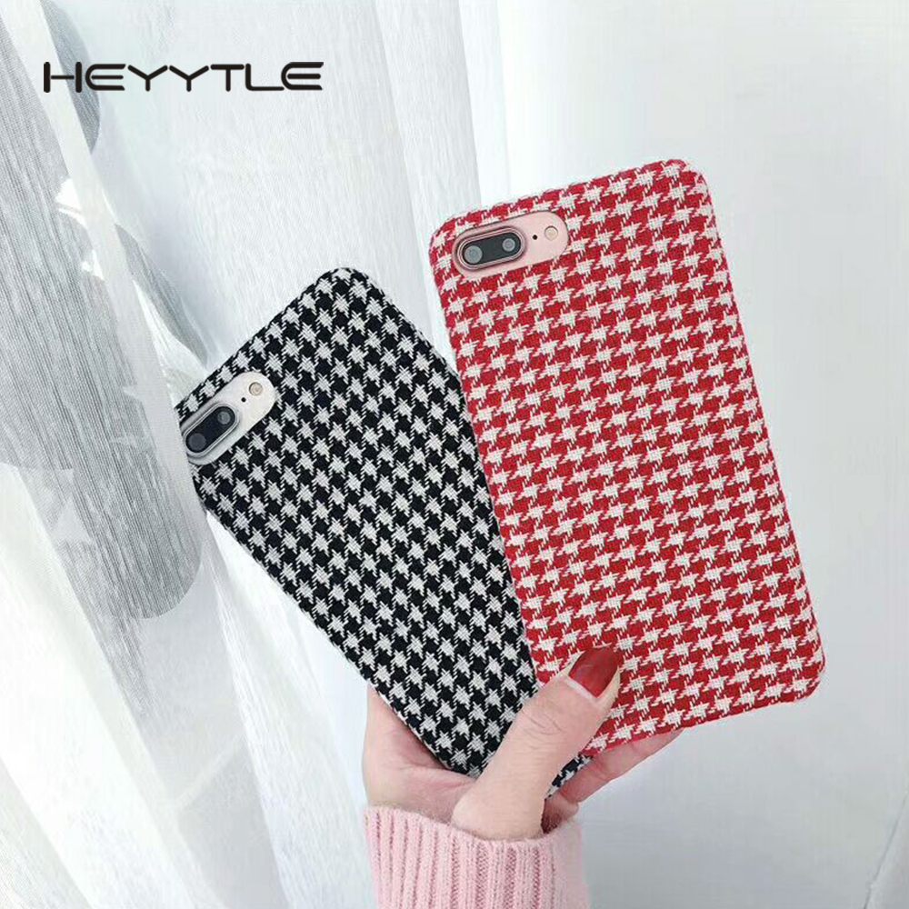 Heyytle Cloth Grid Phone Case For Apple iPhone X 8 7 6S 6 Plus Lattice Cute Soft TPU Fashion Capa Houndstooth Back Cover Cases