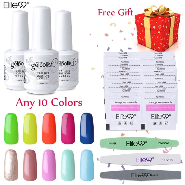 Pick 10 Colors UV Gel Nail Polish Elite99 UV Nail Polish Soak Off Gel Remover Wraps Sanding Nail Files Set