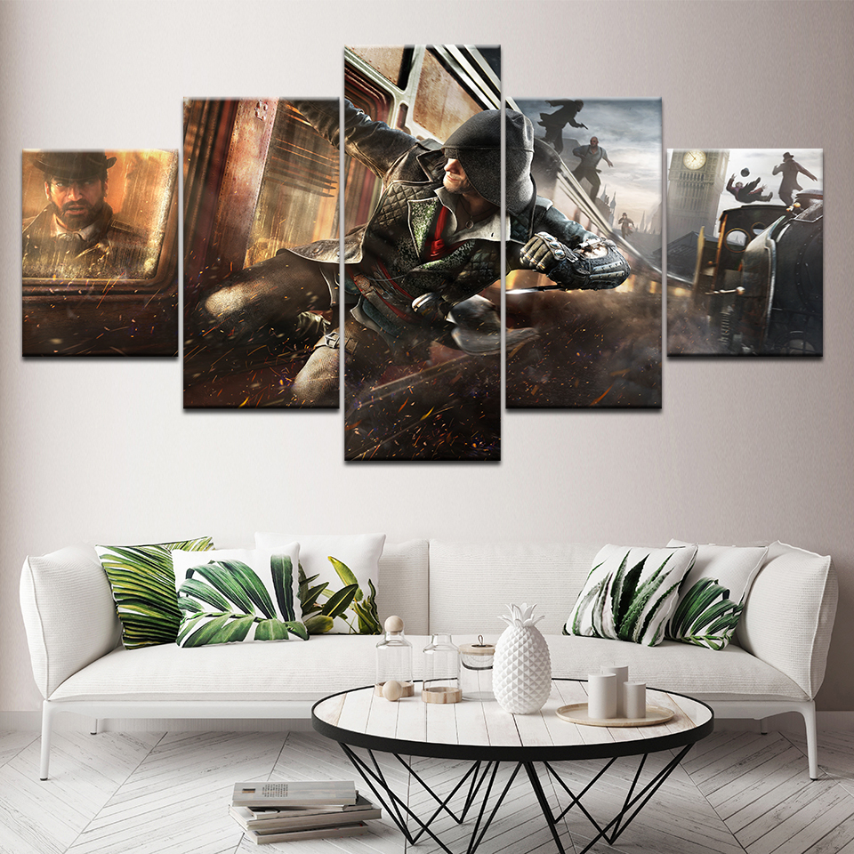 Canvas Painting The man attacking the train 5 Pieces Wall Art Painting Modular Wallpapers Poster Print living room Home Decor