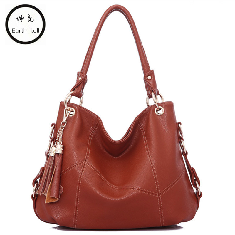 купить Brand tassel handbag women shoulder bag female large tote bags hobo soft genuine Leather ladies crossbody messenger bag travel по цене 3222.4 рублей