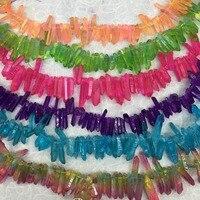 الجملة 8*35 ملليمتر مختلط اللون جوهرة الحجر الطبيعي المرأة سحر القلائد المعلقات صنع المجوهرات الكريستال عمود