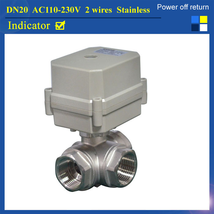 3/4'' AC110V-230V 2 wires electric ball valve stainless steel 3 way L type SS304 3 4 3 way stainless steel ss304 pneumatic electric ball valve
