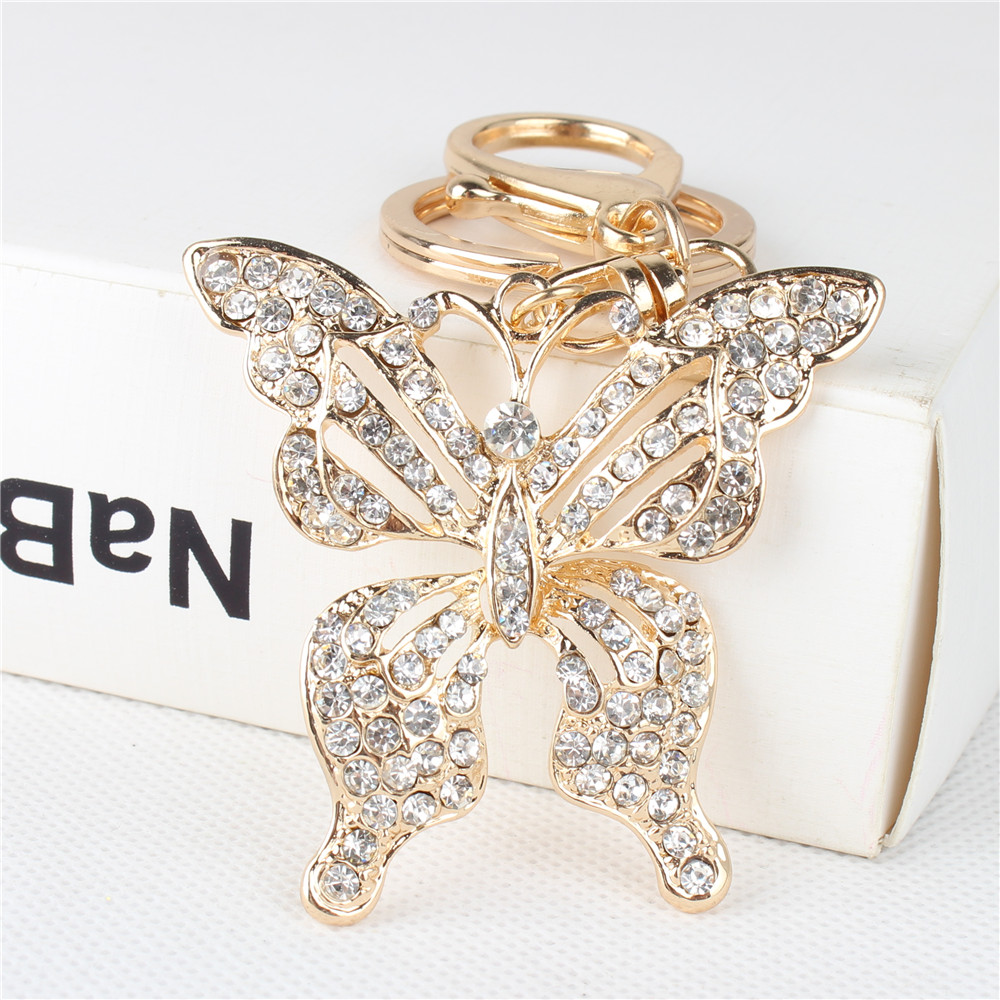 Lovely Butterfly Cute Crystal Charm Anheng Pung Bag Nøkkelring Chain Wedding Party Friend Girl Christmas Gift