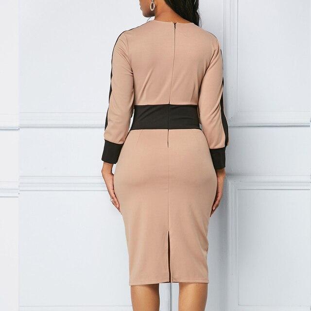 Winter Autumn Dress Women 2019 Casual Plus Size Slim Office Bodycon Dresses Elegant Vintage Sexy Split Patchwork Party Dress 5XL 4
