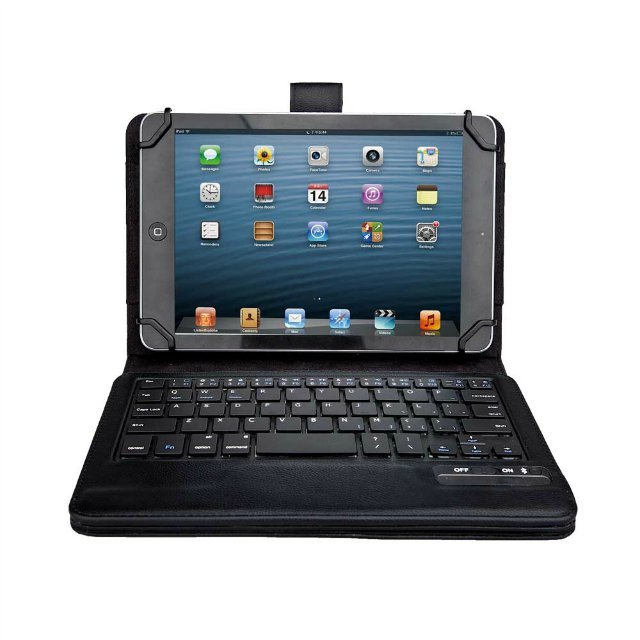 "Universal Keyboard & Case Dechatable Bluetooth Keyboard & PU Case Cover for 7"" – 8.3"" Tablet Android /Windows/IOS"