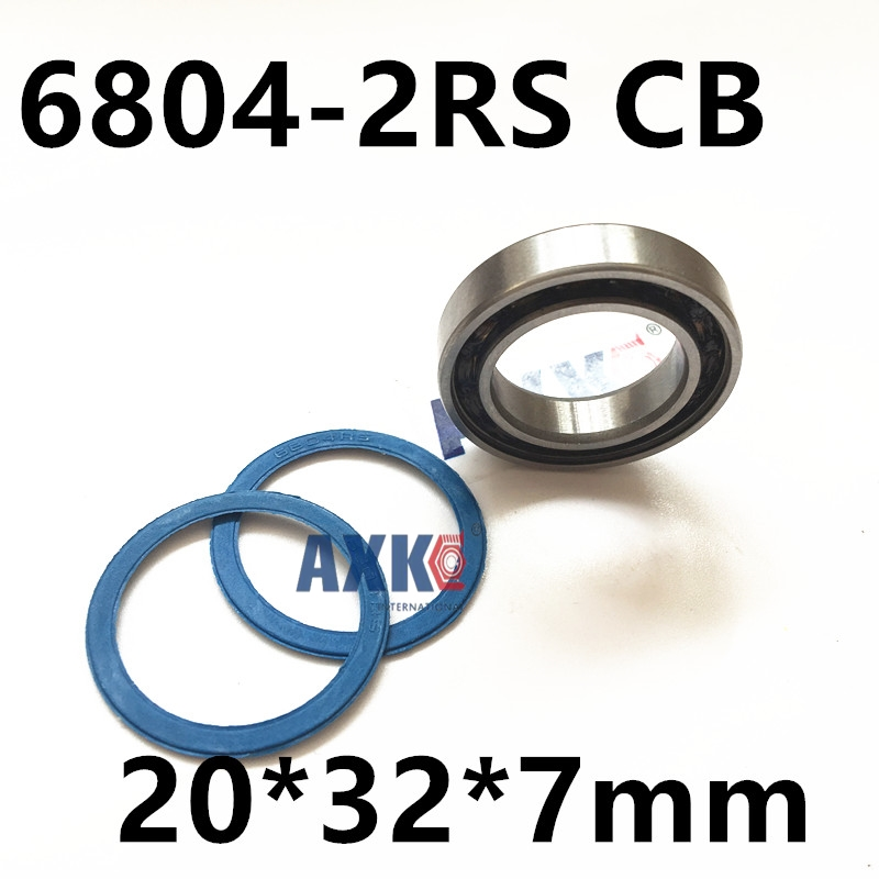 2pcs rubber sealed 440 stainless steel hybrid ceramic ball bearings blue S6804 2RS CB 6804 2RS 20*32*7mm Si3N4 bike part цена и фото