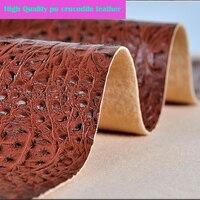 Хорошая кофейная ткань из искусственной кожи крокодила, толстая искусственная кожа, ткань для самостоятельного изготовления обуви, сумка и...